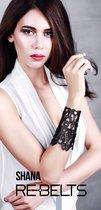 Резной широкий кожаный браслет Shana, цвет черный - Rebelts