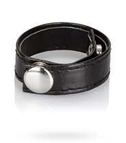 Утяжка Leather 3-Snap Ring, цвет черный - California Exotic Novelties