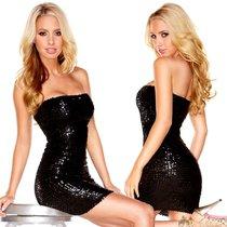 Платье-бандо The Sparkling Queen с пайетками, цвет черный, L - Hustler Lingerie