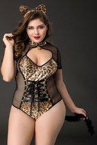 Черно-леопардовый костюм кошки Tawny, цвет леопард/черный, 2XL - Candy girl