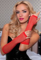 Перчатки Elbow Fishnet Gloves - Red, цвет красный, OS - Seven`til Midnight