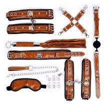 Стильный большой набор БДСМ: маска, ошейник, кляп, фиксатор, наручники, оковы, плеть, цвет коричневый - Bioritm