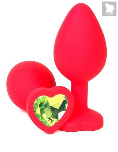 Красная силиконовая анальная пробка с лаймовым стразом-сердцем - 10,5 см., цвет лайм - Vandersex