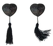 Черные пэстисы-сердечки Evans с кисточками и стразами, цвет черный - Lola Lingerie