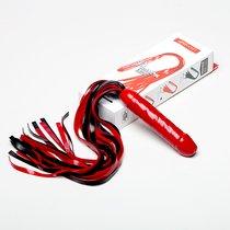 Чёрно-красная латексная плеть мини-ракета с ручкой в виде фаллоса - 55 см., цвет красный/черный - Sitabella (СК-Визит)