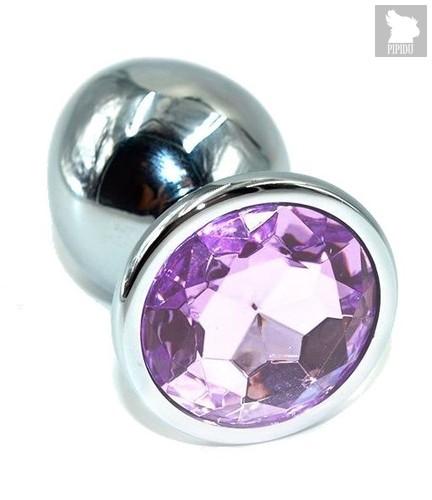 Серебристая анальная пробка с сиреневым кристаллом - 10 см., цвет сиреневый - Kanikule
