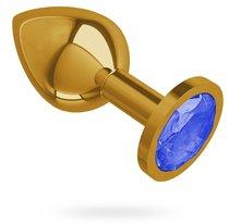 Золотистая средняя пробка с синим кристаллом - 8,5 см, цвет золотой/синий - МиФ