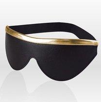 Черная кожаная маска на резинке с золотистой полосой, цвет золотой/черный - Sitabella