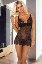 Чарующая сорочка Arabella из нежного кружева с ресничками, цвет черный, L-XL - Beauty Night