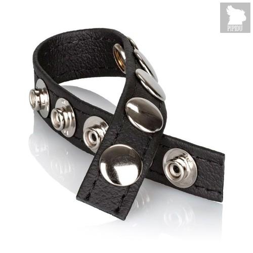 Утяжка на пенис Leather Multi-Snap Ring, цвет черный - California Exotic Novelties