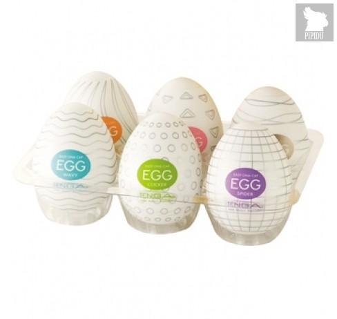 Набор из 6 мастурбаторов-яиц Tenga EGG Strong Sensations с различными рельефом - Tenga