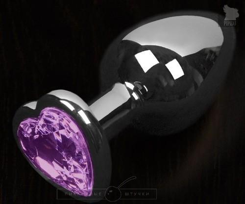 Серая анальная пробка с фиолетовым кристаллом в виде сердечка - 8,5 см., цвет фиолетовый - Пикантные штучки