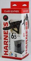 Насадка-фаллоимитатор на кожаных трусиках Harness Ultra Realistic 6,5 - 18,5 см., цвет черный - Lovetoy (А-Полимер)