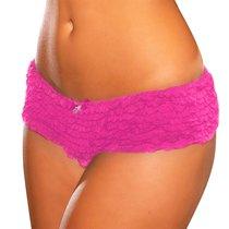 Трусики Crotchless Ruffle Booty Shorts, цвет розовый, размер M-L - Hustler Lingerie