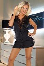 Игривый комплект Mellissa: топ и шорты с кружевом, цвет черный, L-XL - Beauty Night