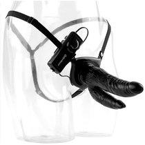 Чёрный страпон с вибрацией Dual Penetrator - 17 см, цвет черный - Pipedream