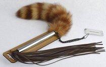 Плеть-щекоталка с натуральным пушистым хвостиком, цвет коричневый - Sitabella