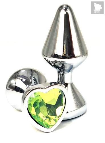 Серебристая анальная пробка с лаймовым кристаллом-сердцем - 8 см., цвет лайм - Vandersex