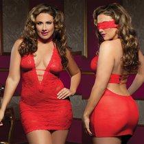 Платье Karen с глубоким декольте, цвет красный, XL-3XL - Seven`til Midnight