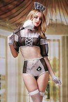 Соблазнительный костюм горничной Crystal, цвет белый/черный, S-L - Candy girl