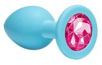 Средняя голубая анальная пробка Emotions Cutie Medium с розовым кристаллом - 8,5 см. - Lola Toys