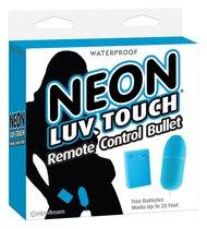 Неоновая вибропуля на пульте управления Neon Luv Touch Remote Control Bullet, цвет голубой - Pipedream