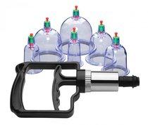 Набор помп для стимуляции Sukshen 6 Piece Cupping Set with Acu-Points, цвет прозрачный - XR Brands
