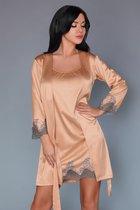 Пеньюар и сорочка Sancha с кружевной отделкой, цвет персиковый, размер S-M - Livia Corsetti