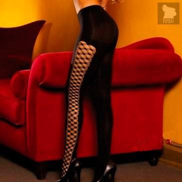 Плотные колготки с оригинальной боковой шнуровкой, цвет черный, S-L - Hustler Lingerie