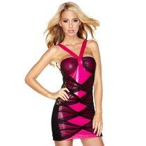 Комбинированное розово-черное платье, цвет розовый/черный, L - Hustler Lingerie