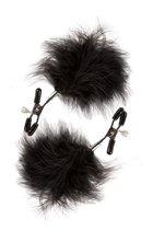 Зажимы для сосков с пухом FEATHERED NIPPLE CLAMPS, цвет черный - Blush Novelties