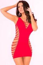 Бесшовное мини-платье с перфорацией по бокам, цвет черный, S-L - Pink lipstick