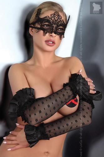 Ажурные перчатки с оборками, цвет черный - Livia Corsetti