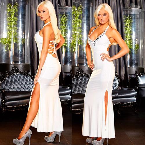 """Вечернее платье Hustler """"в пол"""" с разрезом, цвет белый, M-L - Hustler Lingerie"""