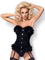 Роскошный корсет без бретелей Baletti с кружевными рюшками, цвет черный, размер L-XL - Obsessive