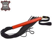 Черная многохвостая плеть MIX с красной ручкой - 47 см., цвет красный/черный - Sitabella