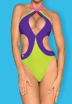 Стильный слитный купальник Playa Norte, цвет лайм, S - Obsessive