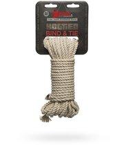 Бондажная пеньковая верёвка Kink Bind Tie Hemp Bondage Rope 30 Ft - 9,1 м., цвет бежевый/серый - Doc Johnson