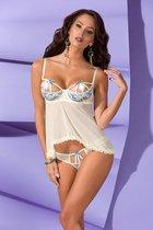 Соблазнительная сорочка Emma с цветочным узором, цвет кремовый, 2XL-3XL - Avanua
