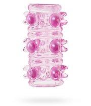 Насадка на фалос Sextoy с шипами и бусинами, цвет розовый - SEXTOY