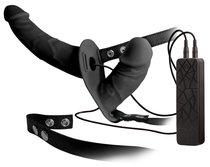 Чёрный вибрострапон с вагинальной пробкой Double Thruster - 17 см, цвет черный - ORION