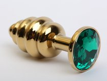 Золотистая ребристая анальная пробка с зеленым стразом - 7,3 см.