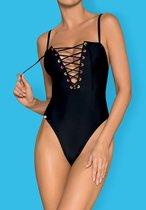 Слитный женский купальник Beverelle со шнуровкой, цвет черный, L - Obsessive