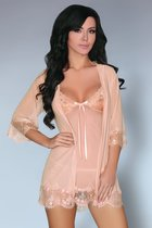 Соблазнительный комплект Aksinya: пеньюар, сорочка и трусики, цвет бежевый, размер M - Livia Corsetti