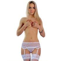 Широкий пояс из нежного кружева и трусики-стринги, цвет белый, размер 42-44 - FlirtON