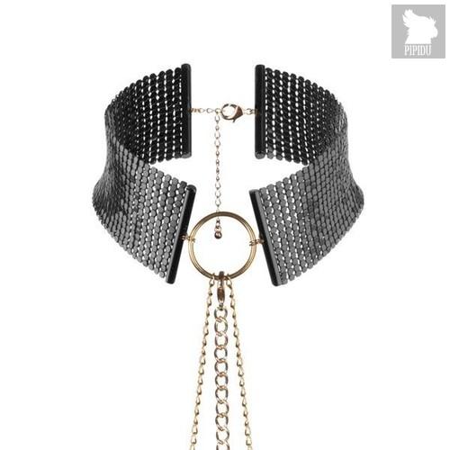 Чёрный ошейник с цепочками Desir Metallique Collar, цвет черный - Bijoux Indiscrets