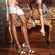 Высокие чёрные чулки служанки Five Star French Maid в сетку, цвет белый/черный, S-L - Baci Lingerie