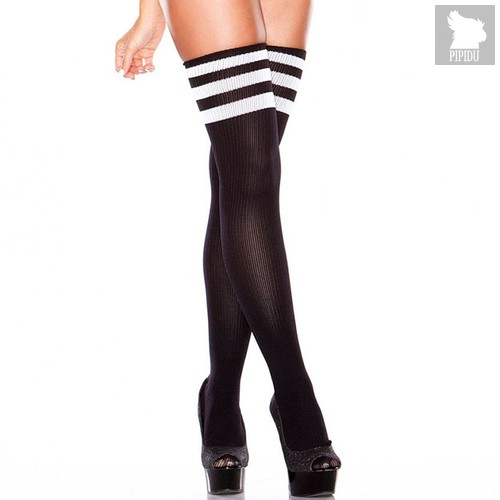 Чулки Thigh High Striped Socks, цвет черный, S-L - Hustler Lingerie