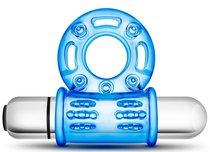 Голубое эрекционное виброкольцо 10 Function Vibrating Mega Bull Ring, цвет голубой - Blush Novelties