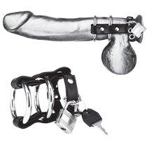 Двойное металлическое кольцо на пенис с замком на ремне, цвет черный - Blue Line
